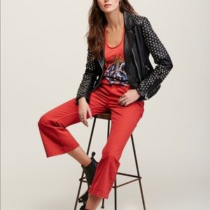 Red Free People Crop Flare Jeans